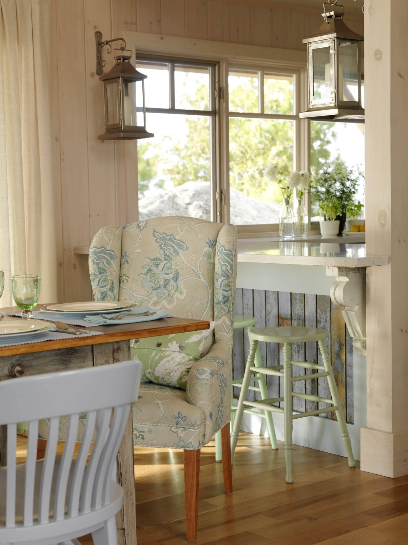 Green bar stool and distressed bar paneling. #SarahRichardson #cottagestyle #lantern