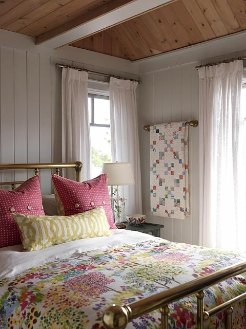 Sarah's Cottage Bunkie Bedroom with cheerful pink and green