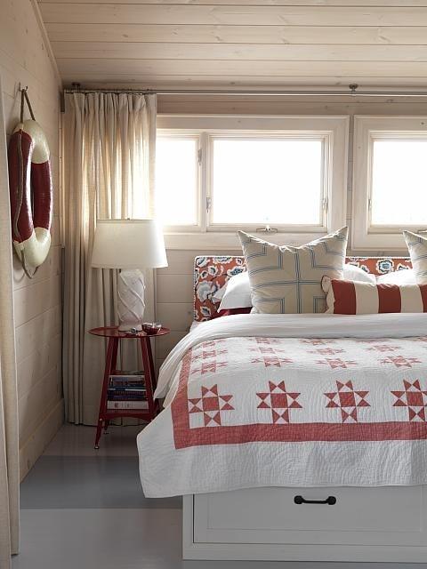 Sarah Richardson cottage master bedroom with red quilt