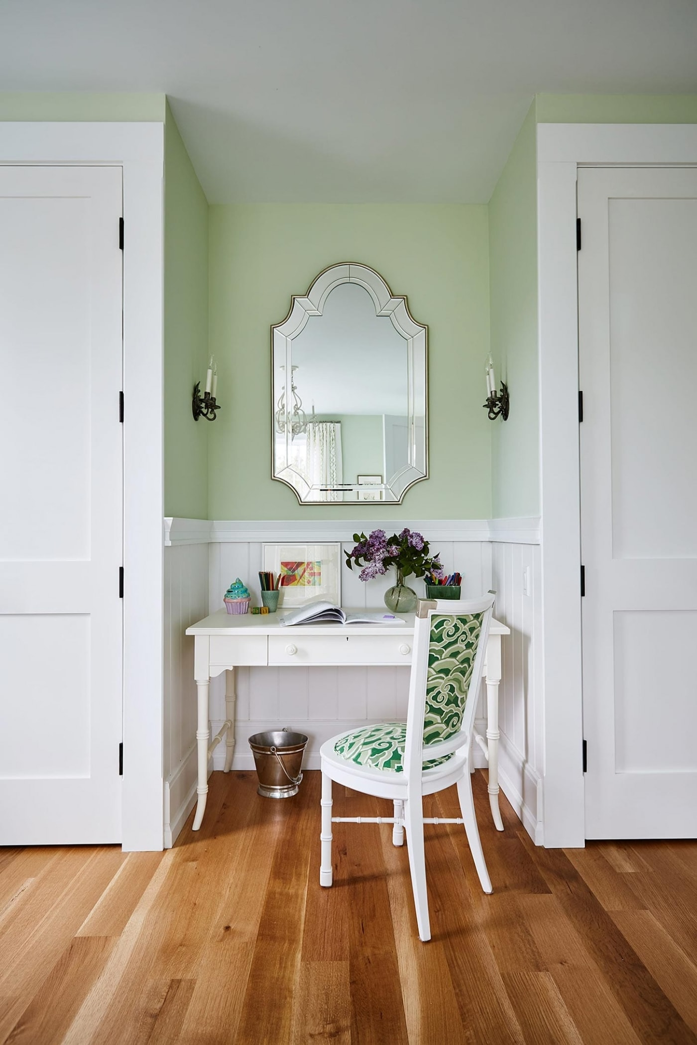 White Study Desk located in between built in closets in Sarah Richardson mint green bedroom