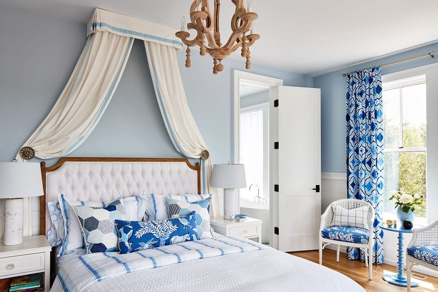 Beautiful canopy over bed in blue girls room - Sarah Richardson