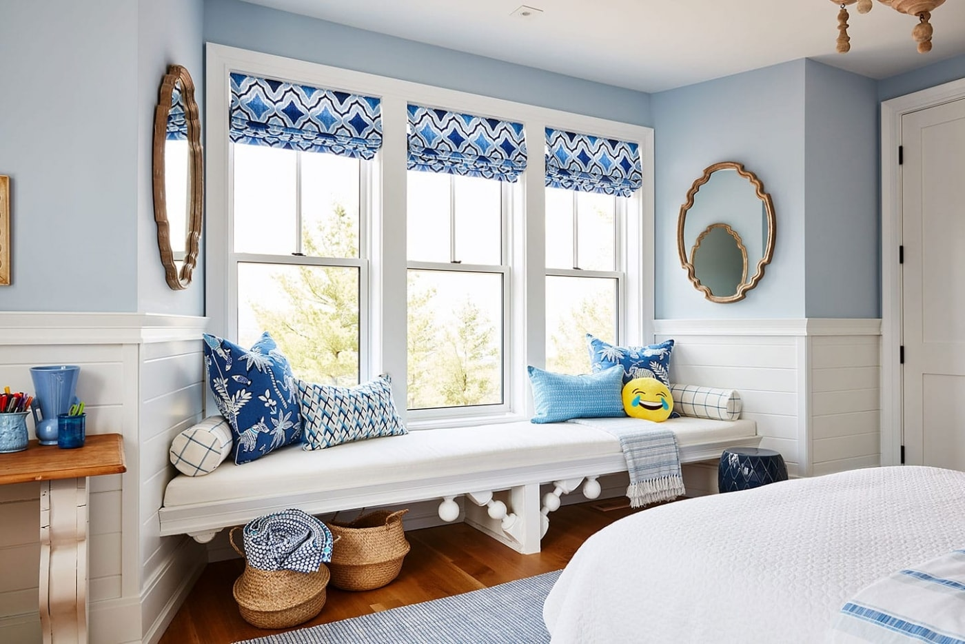 Builtin window seat in gorgeous blue girls bedroom - Sarah Richardson