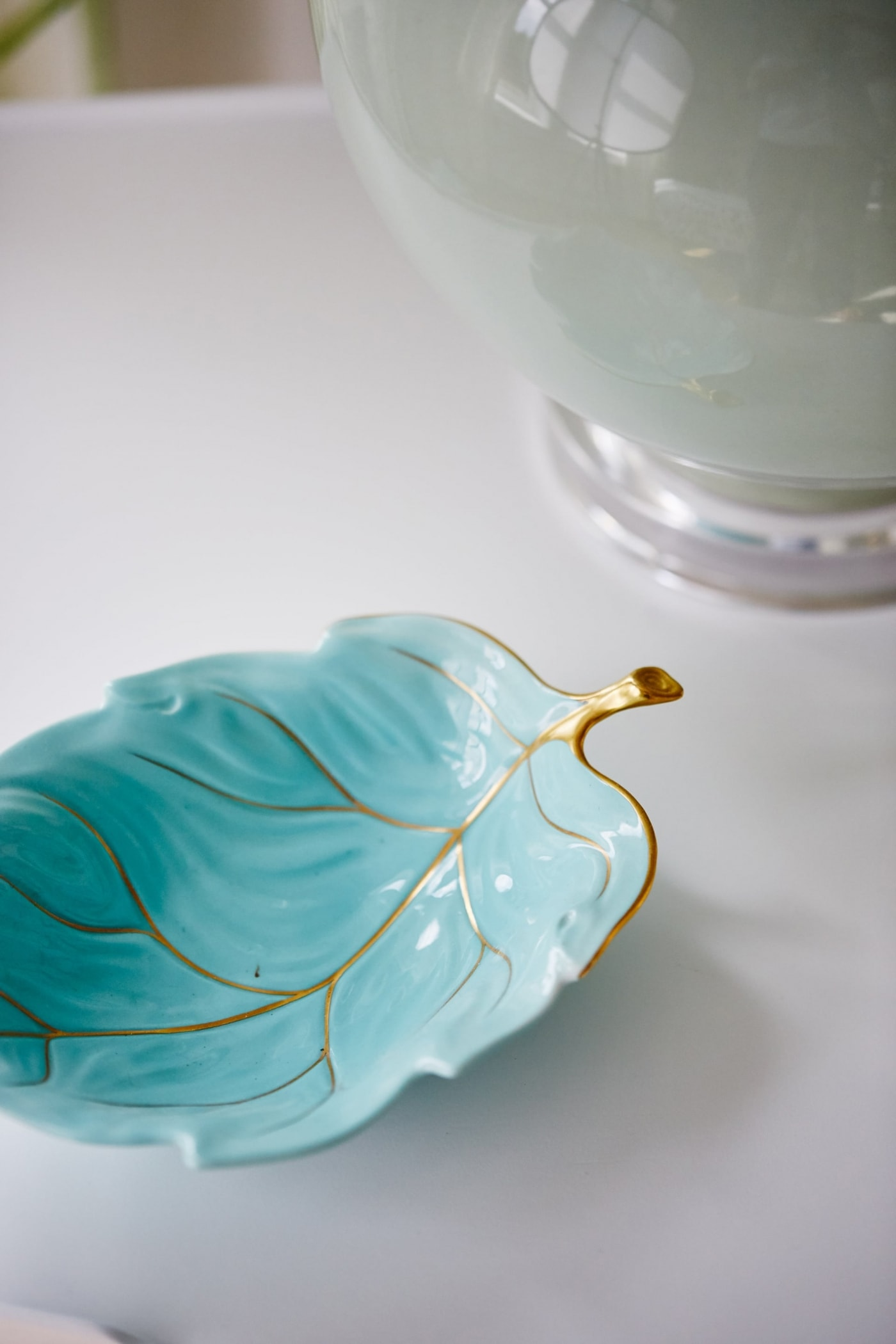 Turquoise dish on nightstand in Fiona's Room - Sarah off the Grid