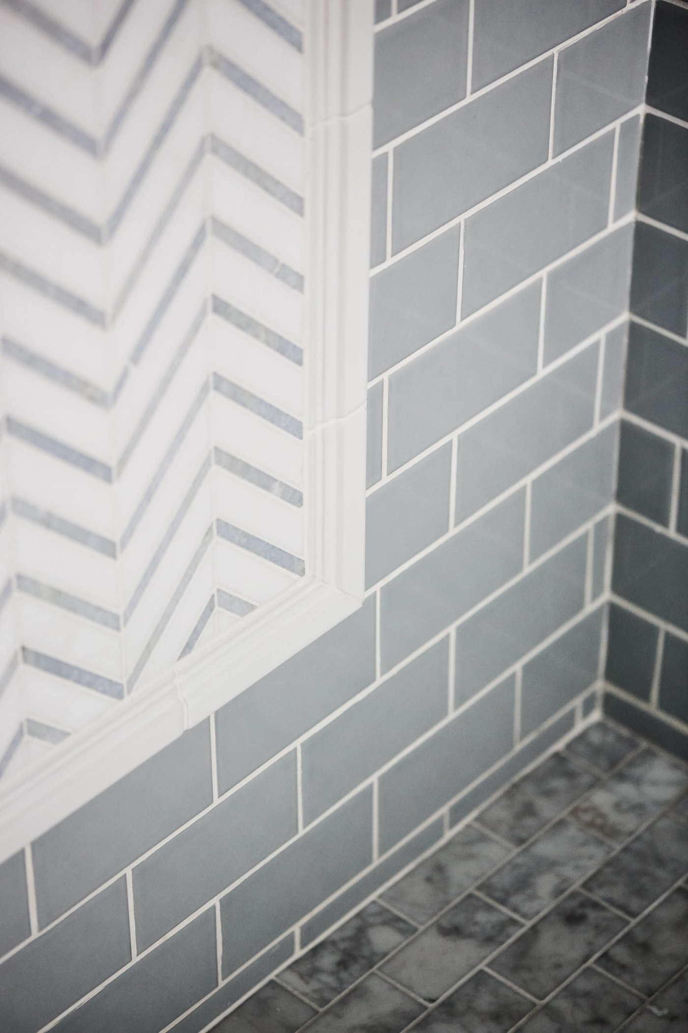 Detail of shower tile in Robin's Bathroom - Sarah off the Grid