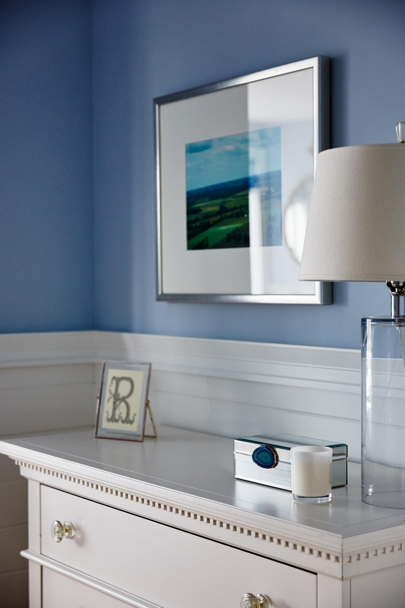 White dresser with dentil molding in blue girl's room - Sarah Richardson