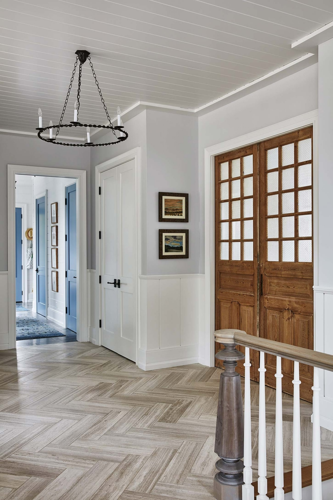 Foyer - Sarah off the Grid. Herringbone floors, beadboard ceiling, and modern country decor in Sarah Richardson's foyer.