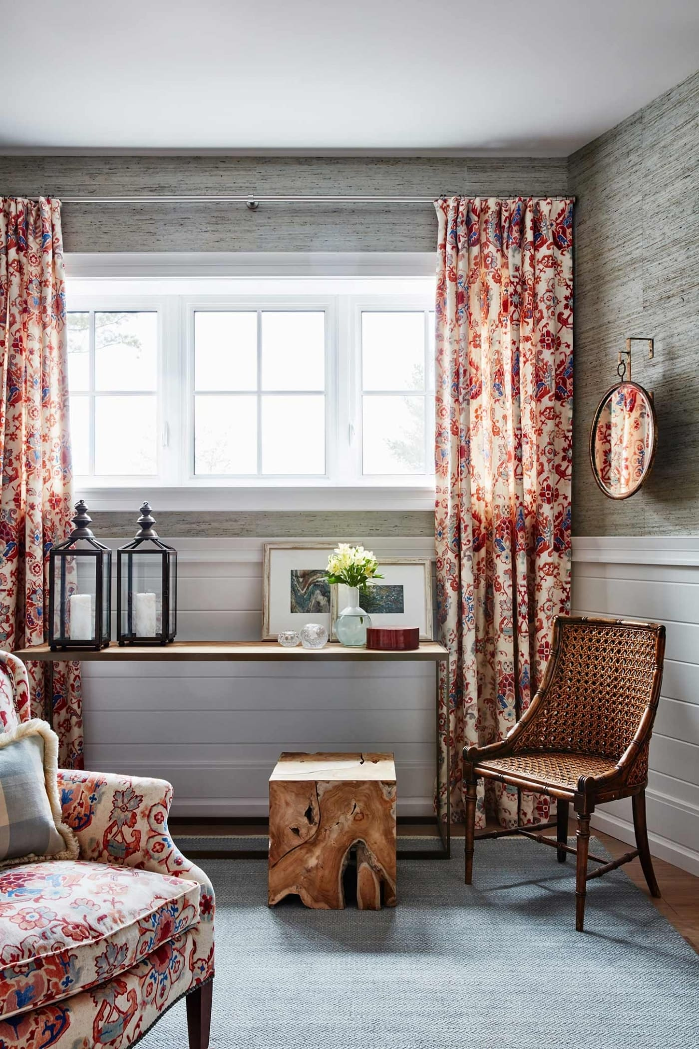 Table Under window with red patterned drapes in Sarah Richardson red guest bedroom in off the grid house #cottagestyle #SarahRichardson