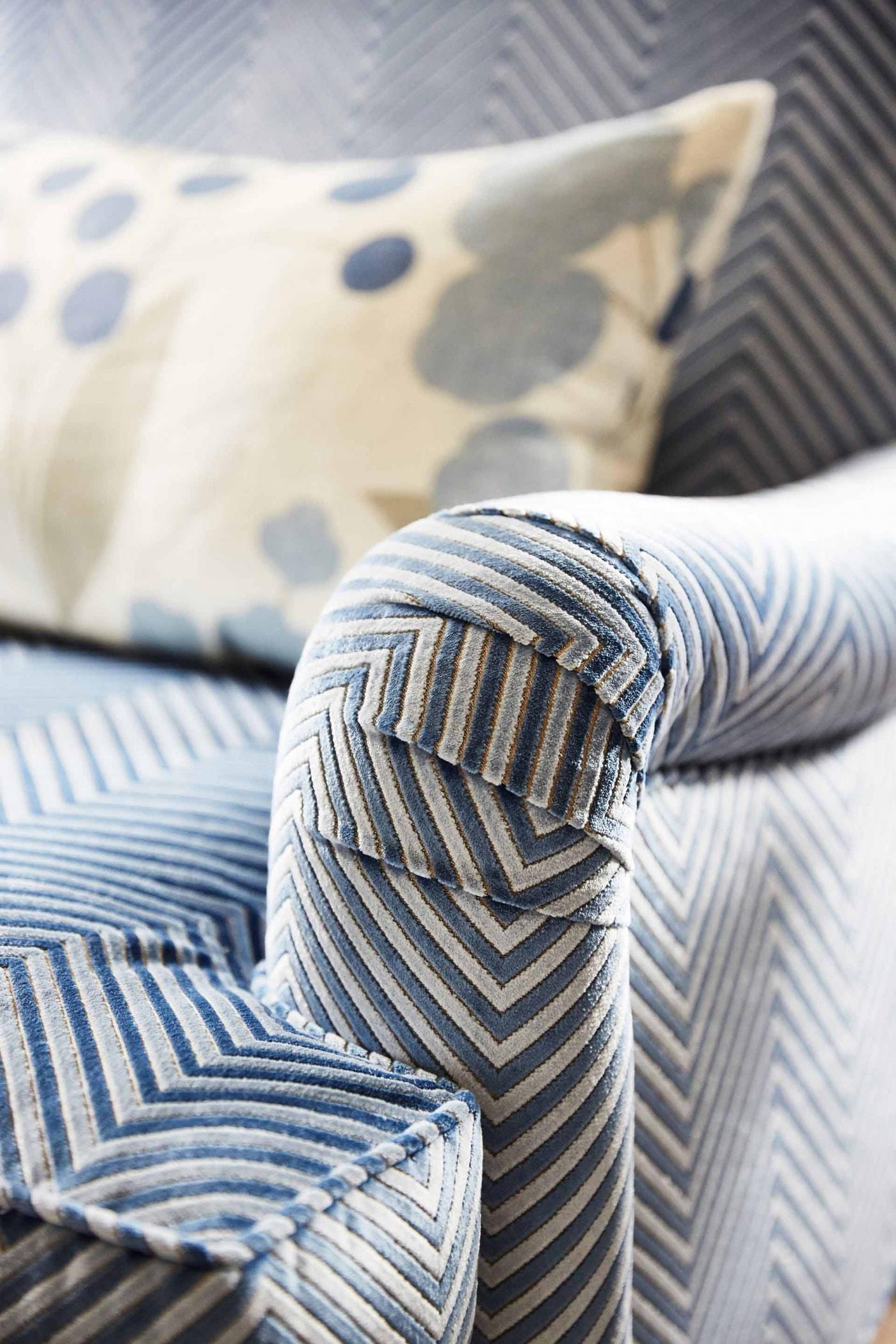Beautiful velvet chevron stripe armchair Media Room - Sarah off the Grid