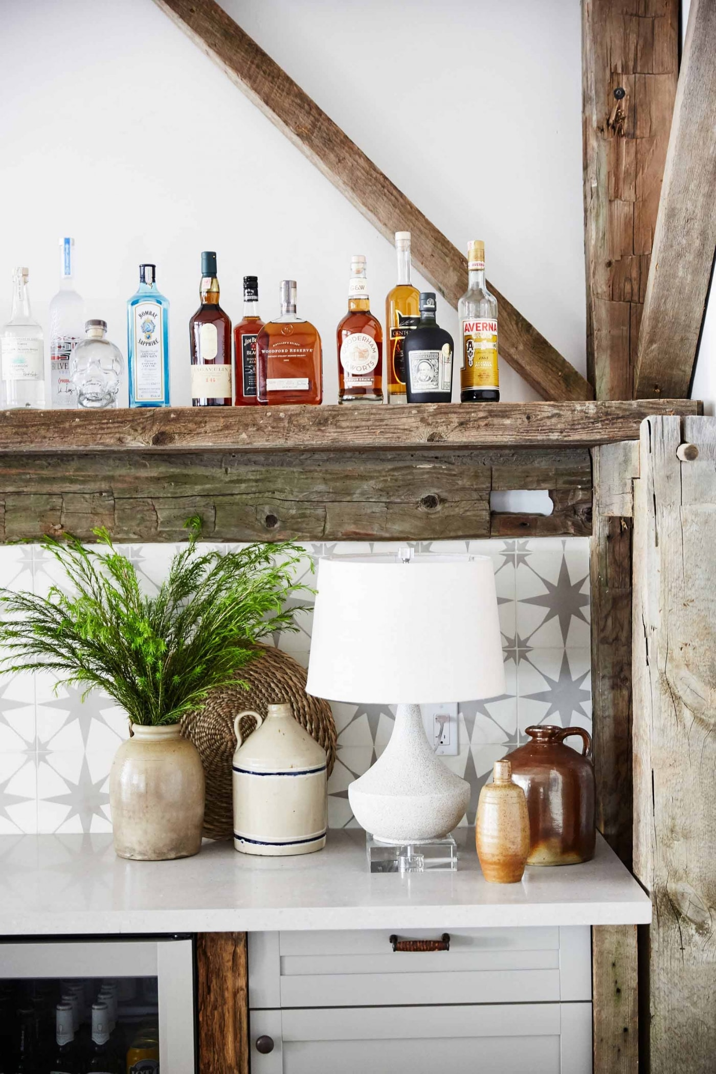 Rustic bar area with distressed wood in Media Room - Sarah off the Grid