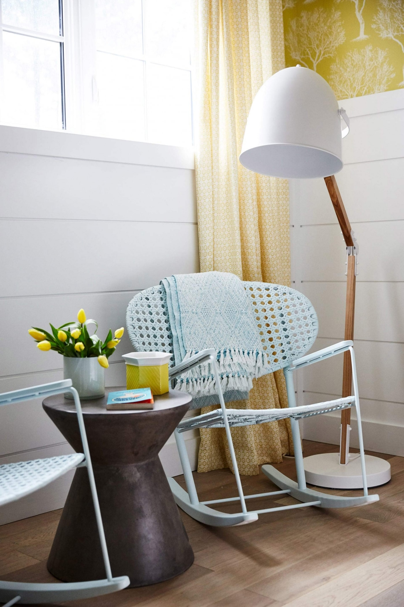 Shiplap on walls of Bunk Room with yellow wallpaper and Ikea rocker - Sarah off the Grid