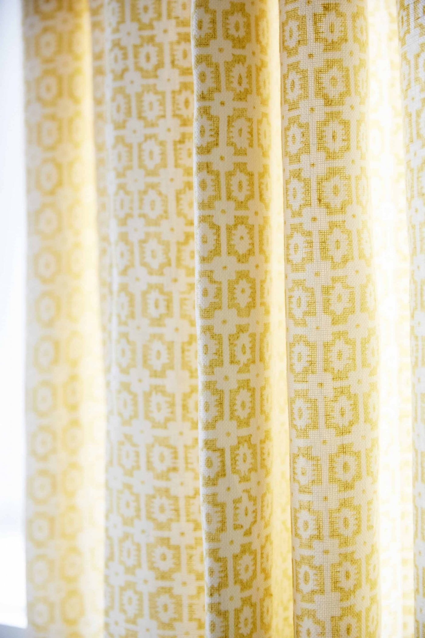 Yellow print curtains in Bunk Room - Sarah Richardson's off the Grid house