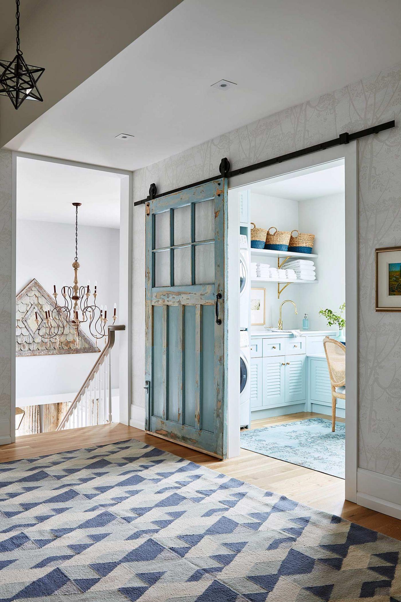 Turquoise blue vintage sliding barn door in #SarahRichardson gorgeous #farmhousestyle laundry room ... & 50 Decorating Ideas Inspired by Sarah Richardson Part 1 - Hello Lovely